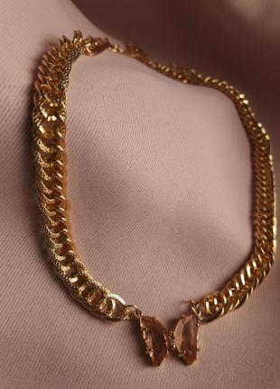 Цепочка блестящий широкая золотистая с камнями стразы,колье,ожерелье,цепочка,цепь,ланцюжок