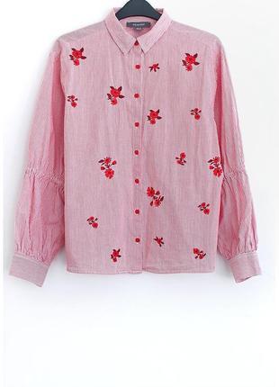 Хлопковая рубашка с вышивкой primark • р-р  10\38 (м)