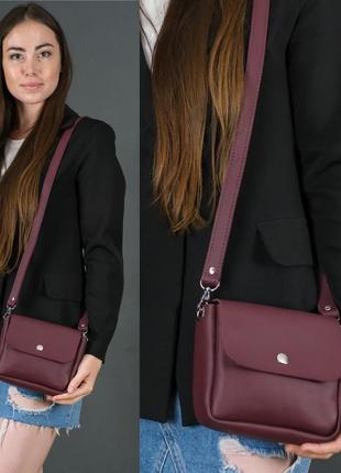 Женская маленькая сумочка из натуральной кожи гранд бордовая