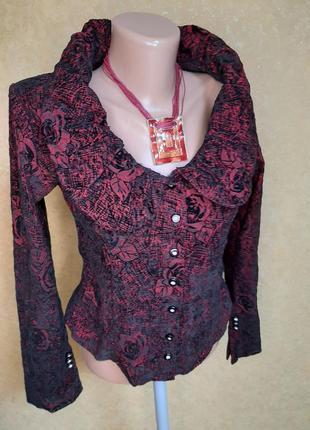 Блуза  пубашка эластичная с бархатистым узором
