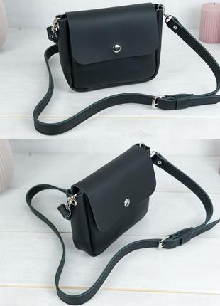 Женская маленькая сумочка из натуральной кожи гранд черная