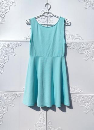 Бирюзовое летне платье открытая спинка h&m