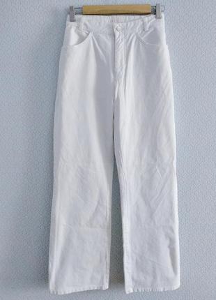 Белоснежные шикарные широкие джинсы палаццо клеш высока посадка талия