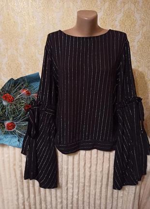 Вискозная блузка с шикарными рукавами, apricot, p. xl