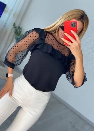 Блузка с рукавами в горошек