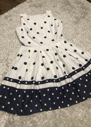 Новое хлопковое платье в горох, белое с синим!