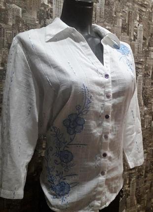Натуральная брендовая рубашка с вышивкой