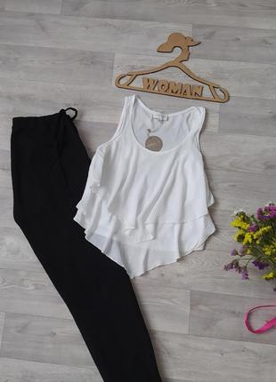 Блуза майка с оборками белая вискоза apricot7 фото