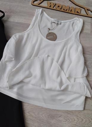 Блуза майка с оборками белая вискоза apricot4 фото