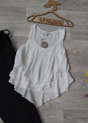 Блуза майка с оборками белая вискоза apricot3 фото