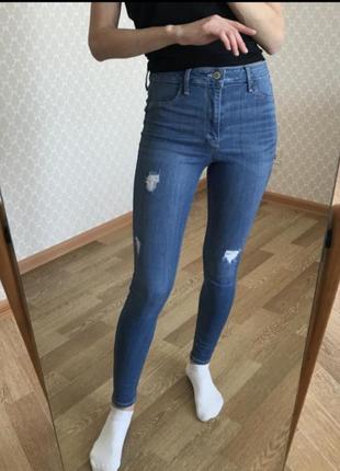 Идеальные джинсы скинни на высокой посадке hollister