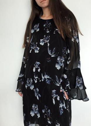 Плаття сукня квіти чорне легке hm