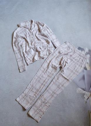 Байковая пижама в клетку р.l-xl