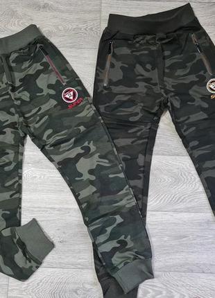 Трикотажные камуфляжные брюки джоггеры для мальчика р.134-164