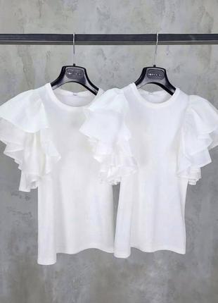 Прекрасная женская белая блуза с нарядными плечиками