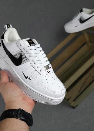 Nike air force 1 lv8 низкие белые (черная запятая)