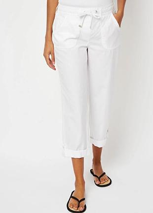 Скидка до 20.08! легкие белоснежные брюки кроп из чистого хлопка р.16