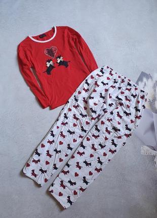Тёплая пижама с принтом собачек р.m-l