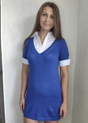 Женское синее платье с рубашкой обманкой(0540)