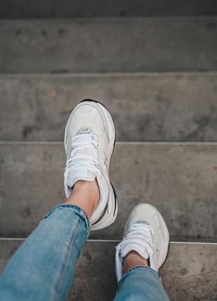 Nike m2k tekno white black кроссовки найк женские техно м2к обувь6 фото