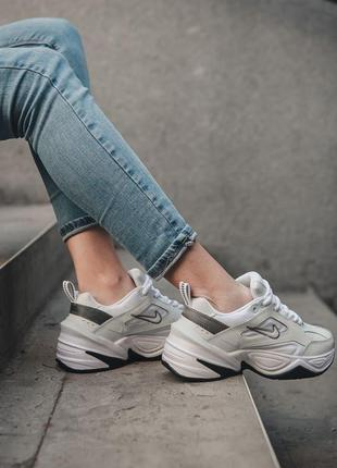 Nike m2k tekno white black кроссовки найк женские техно м2к обувь3 фото
