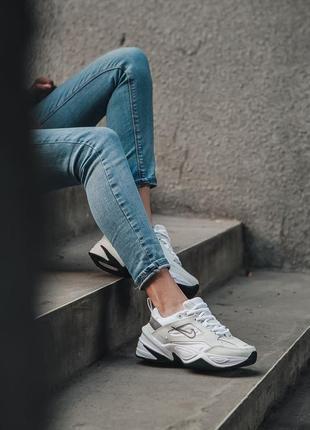 Nike m2k tekno white black кроссовки найк женские техно м2к обувь7 фото