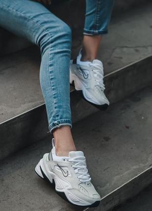 Nike m2k tekno white black кроссовки найк женские техно м2к обувь10 фото