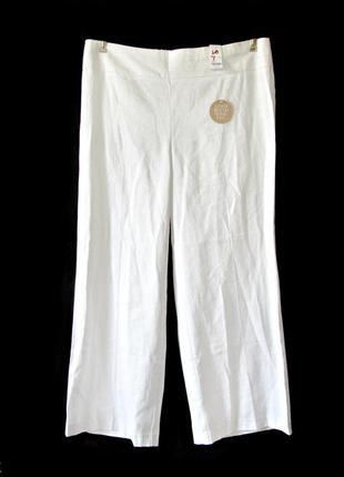 Широкие белые льняные брюки с карманами р.20