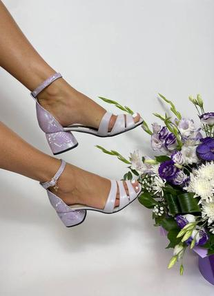 Эксклюзивные босоножки женские натуральная итальянская кожа и замша лиловые
