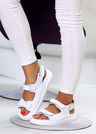 Белые натуральные кожаные сандали/босоножки на липучках 36-40