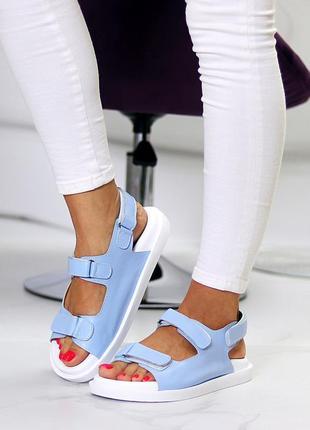 Голубые натуральные кожаные сандали/босоножки на липучках 36-40