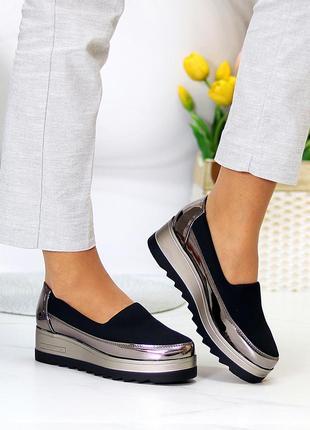 Эластичные черные бронзовые текстильные полу спортивные женские туфли мокасины