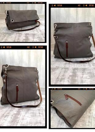 Кожаная сумка трансформер шоппер/ клатч 100% натуральная кожа италия