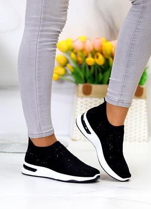 Нарядные удобные текстильные тканевые черные женские кроссовки в стразах
