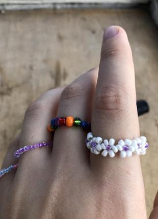 Тренд 2021 кольца браслеты чёкеры ромашки из бисера