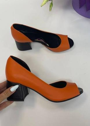 Эксклюзивные туфли из натуральной итальянской кожи и замша оранж