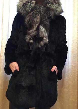 Шуба кролик- чернобурка