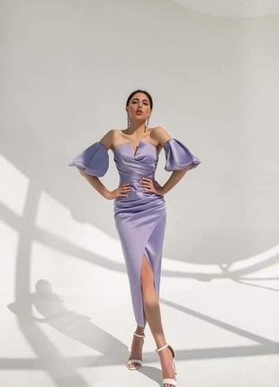Фиолетовое платье , платье из атласа 48 , платье с пышными рукавами , вечернее платье 44