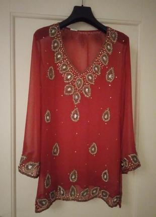 Неповторимая индийская блуза с бесподобной массивной вышивкой