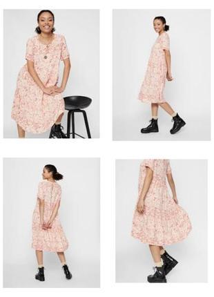 Натуральное платье сукня миди ярусами цветочный принт вискоза р.46 укр