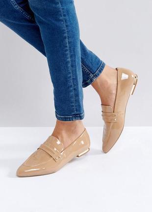 Лаковые лоферы туфли балетки с острым носком асос asos