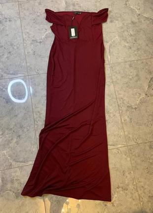 Летняя распродажа 🔥🔥🔥 бордовое вечернее платье с открытыми плечами