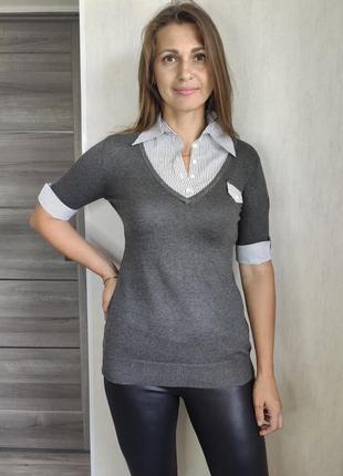 Женский   джемпер  с рубашкой обманкой  и коротким рукавом(0531)