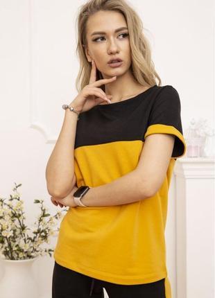 Костюм женский двунитка футболка и штаны горчичный