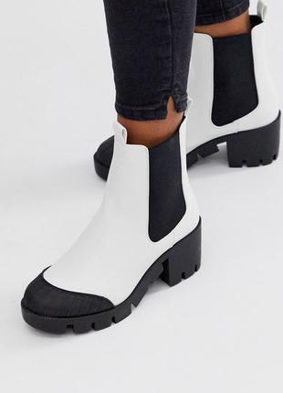 Белые массивные ботинки челси asos design remy