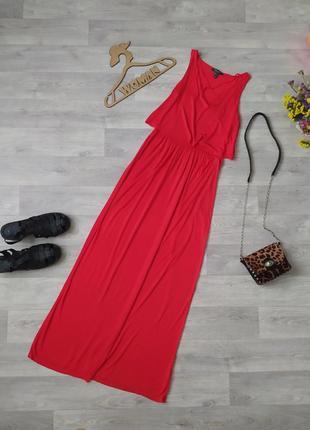 Красное длинное платье вискоза primark