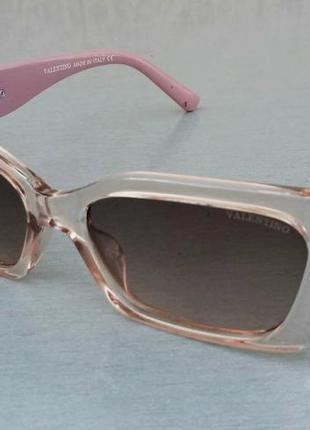 Valentino очки женские модные узкие бежевый градиент с розовыми дужками
