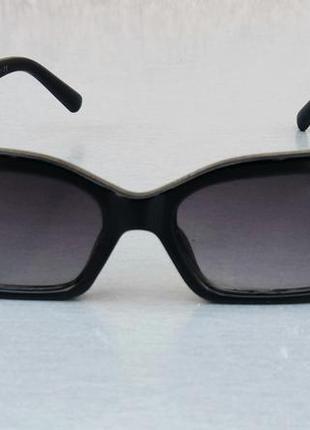 Valentino очки женские солнцезащитные модные узкие черные с серебристым логотипом2 фото