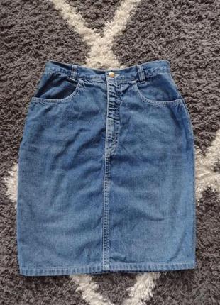 Джинсовая юбка синяя