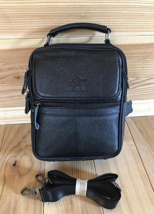 Мужская кожаная сумка leadhake чёрная среднего размера